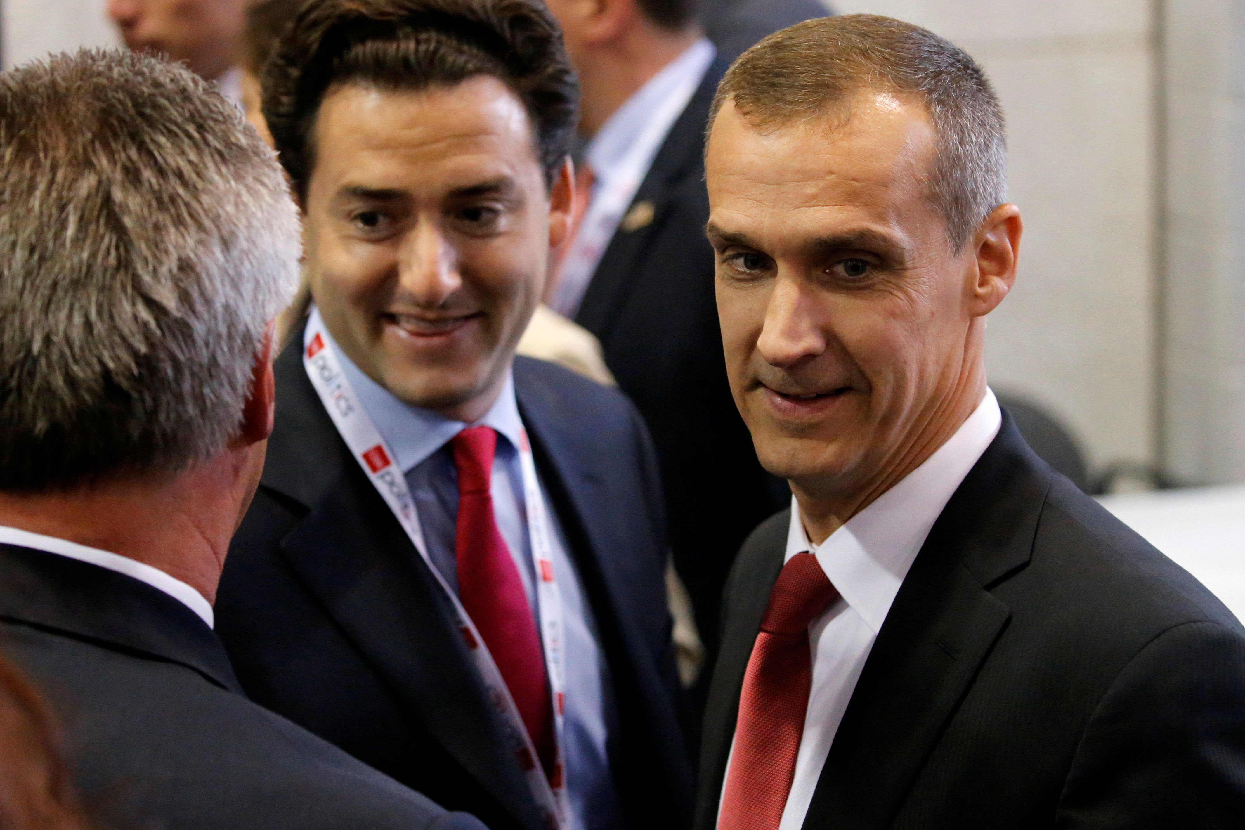 Corey Lewandowski (R), former campaign manager for Republican U.S. presidential nominee Donald Trump, arrives in the spin room after Trump and Democratic U.S. presidential nominee Hillary Clinton had their third and final 2016 presidential campaign debate at UNLV in Las Vegas, Nevada, U.S., October 19, 2016. REUTERS/Jonathan Ernst