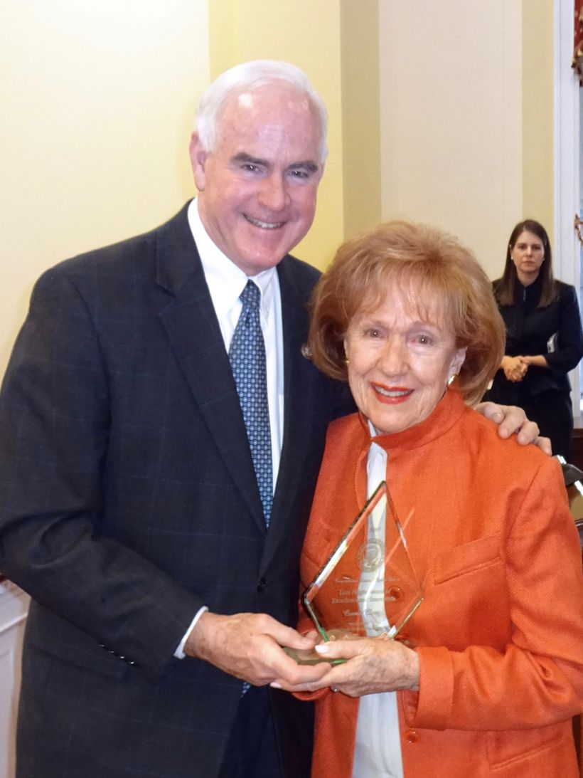 Congressman Pat Meehan (R-PA 7th) presents Connie Clery, Co-Founder of the Clery Center, with the 2017 Lois Haight Award of E