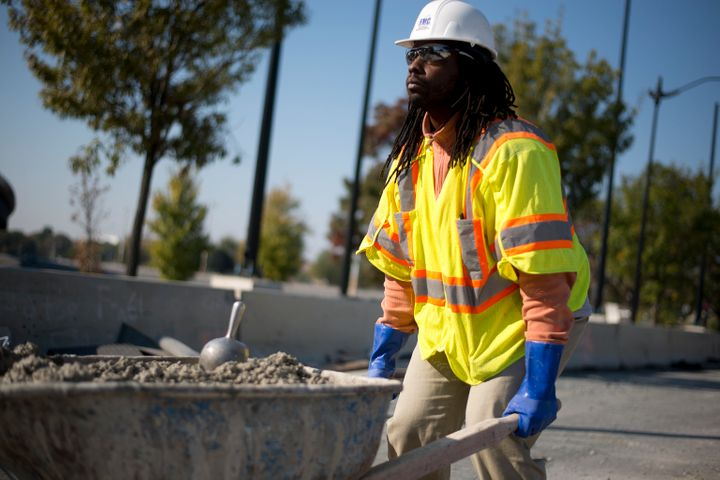 Malachi Yisrael at a construction site in Washington, D.C., after a protest in favor of an apprenticeship program that g