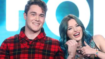 PASADENA, CA - JANUARY 10:  Actors Charlie DePew (L) and Bella Thorne of the television show 'Famous In Love' speak onstage during the Disney-ABC portion of the 2017 Winter Television Critics Association Press Tour at Langham Hotel on January 10, 2017 in Pasadena, California.  (Photo by Frederick M. Brown/Getty Images)