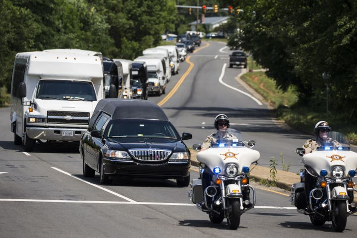 The hearse carrying Nabra Hassanen, who was killed Sunday on her way back to an overnight event at the All Dulles Area M