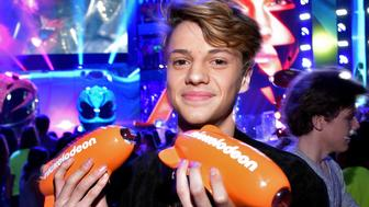 LOS ANGELES, CA - MARCH 11:  Actor Jace Norman poses with awards for Favorite Male TV Star and Favorite TV Show – Kids' Show for 'Henry Danger' backstage at Nickelodeon's 2017 Kids' Choice Awards at USC Galen Center on March 11, 2017 in Los Angeles, California.  (Photo by Kevin Mazur/KCA2017/WireImage)