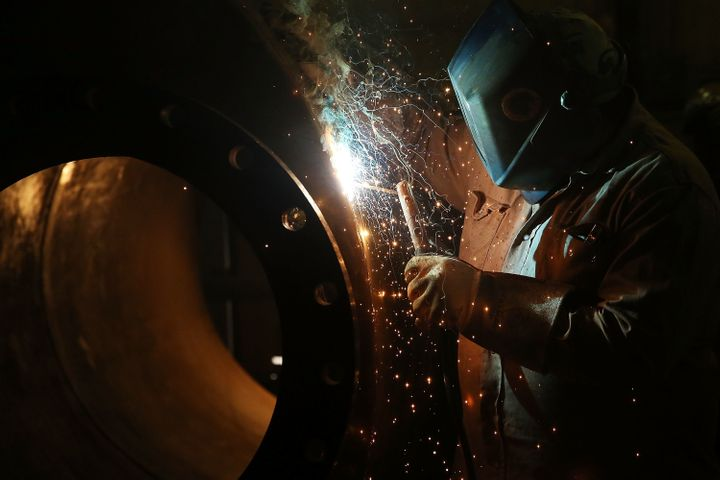 A welder who works for an oilfield service company in Andrews, Texas, on Jan. 20, 2016.