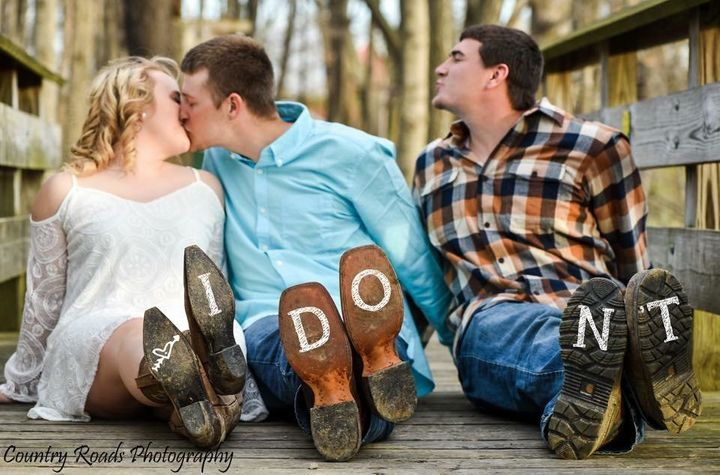 "Berger Photoshopped ""I"" onto Brittney's boot, ""DO"" onto Kody's, and ""N'T"" onto Mitch's."