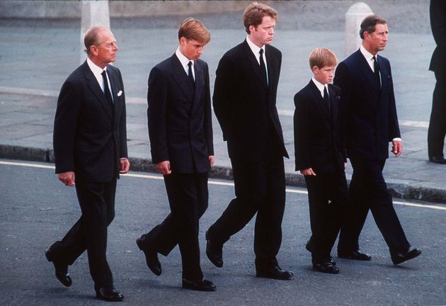 The Duke of Edinburgh, Prince William, Earl Spencer, Prince Harry and the Prince of Wales follow the...