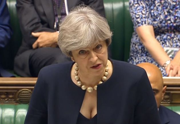 Theresa May speaks in the House of Commons about the Grenfell Tower