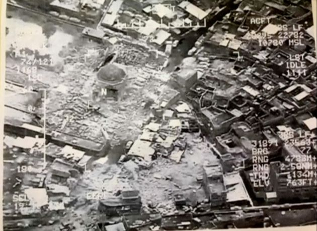 A still image taken from video shows the destroyed Grand al-Nuri Mosque of Mosul in Iraq, June 21,
