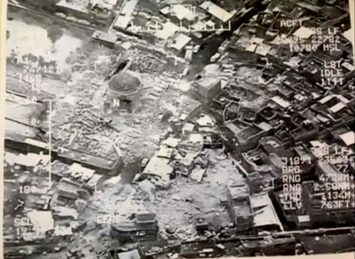 A still image taken from video shows the destroyed Grand al-Nuri Mosque of Mosul in Iraq, June 21, 2017.