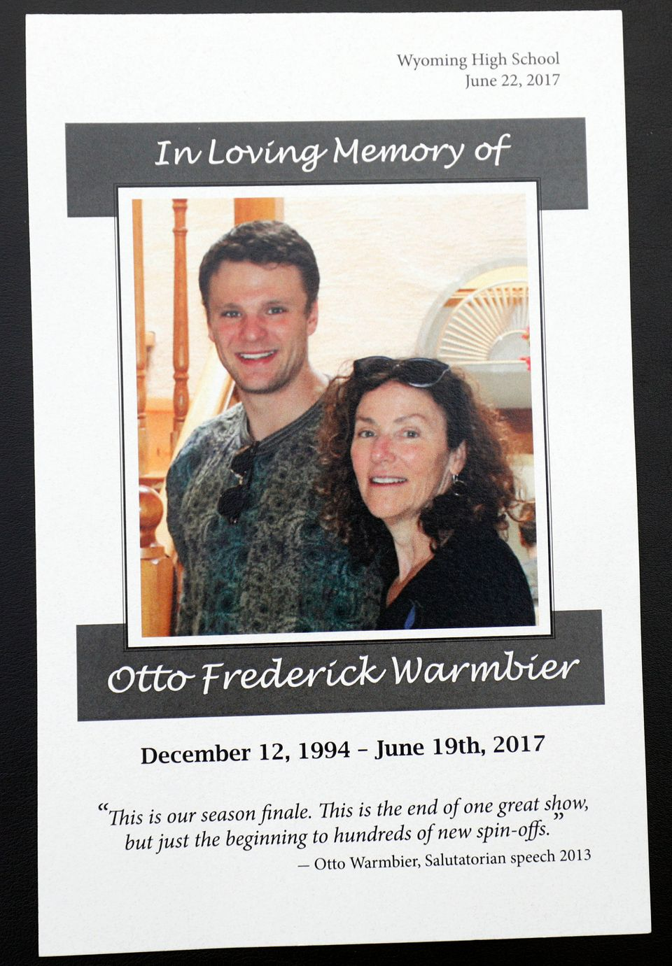 The memorial program for the funeral of Otto Warmbier that was held Thursday in his hometown of Wyoming, Ohio.