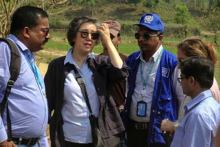 Yanghee Lee (second left), the U.N.'s special rapporteur on the situation of human rights in Myanmar, visits the Balu K