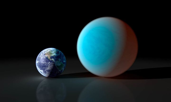 Earth and Super-Earth in an artist concept contrasts our Earth with the planet known as 55 Cancri e.