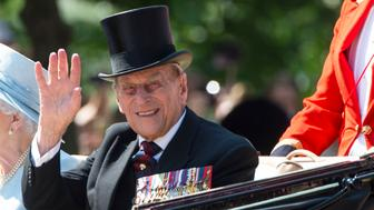 LONDON, ENGLAND - JUNE 17:  Prince Philip, Duke of Edinburgh during the annual Trooping The Colour parade on June 17, 2017 in London, England.  (Photo by Mark Cuthbert/UK Press via Getty Images)