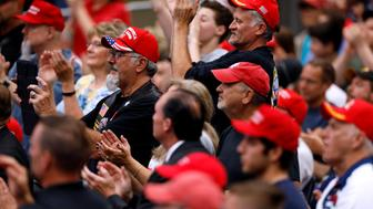 Supporters cheer at a rally with U.S. President Donald Trump at the U.S. Cellular Center in Cedar Rapids, Iowa, U.S. June 21, 2017. REUTERS/Scott Morgan