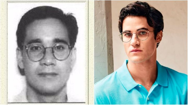 L: Andrew Cunanan appears on a wanted sign for the murder of Gianni Versace. R: Darren Criss as Cunanan.