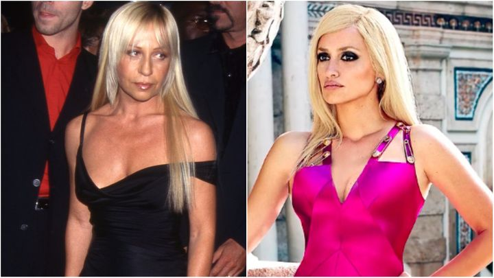 L: Donatella Versace in 1997. R: Penelope Cruz as Donatella Versace.