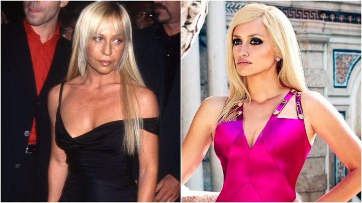 L: Donatella Versace in 1997. R: Penelope Cruz as Donatella Versace.