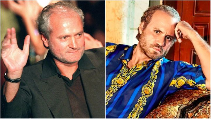 L: Gianni Versace before his death in 1997. R: Edgar Ramirez as Versace.