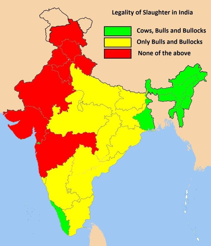 The legal status of cow slaughter in India in 2012. Today, all yellow regions have turned red.
