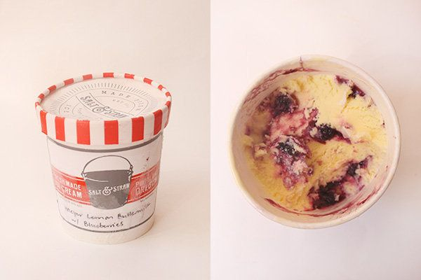 Meyer lemon buttermilk ice cream forms the base of this brightly-flavored pint and generous blueberry fruit swirls across it.