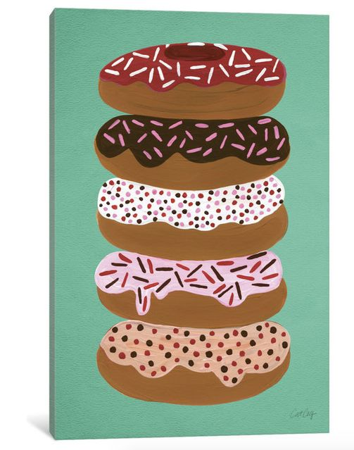 "Buy <a href=""https://www.houzz.com/photos/48109293/Donuts-Stacked-Print-by-Cat-Coquillette-Mint-1-Piece-60x40x15-contemporary"