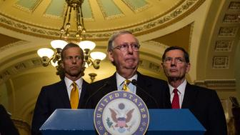 WASHINGTON, DC - JUNE 13: Senate Majority Leader Mitch McConnell (R-KY) takes questions from the press during a weekly press conference following a policy luncheon on Capitol Hill on June 13, 2017 in Washington, D.C. (Photo by Zach Gibson/Getty Images)