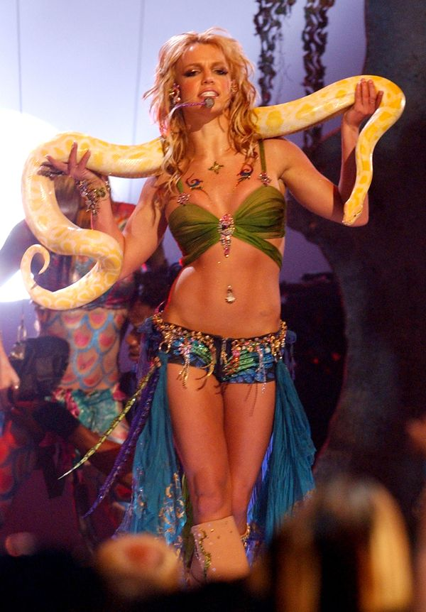 """Britney Spears' iconic outfit, designed by costume design duo Kurt & Bart, went up for auction for <a href=""""http://www.re"""