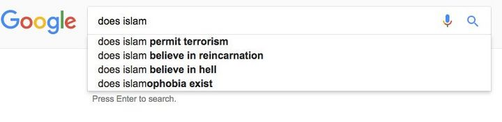 "Google's autofill suggestions for the query ""does Islam."""