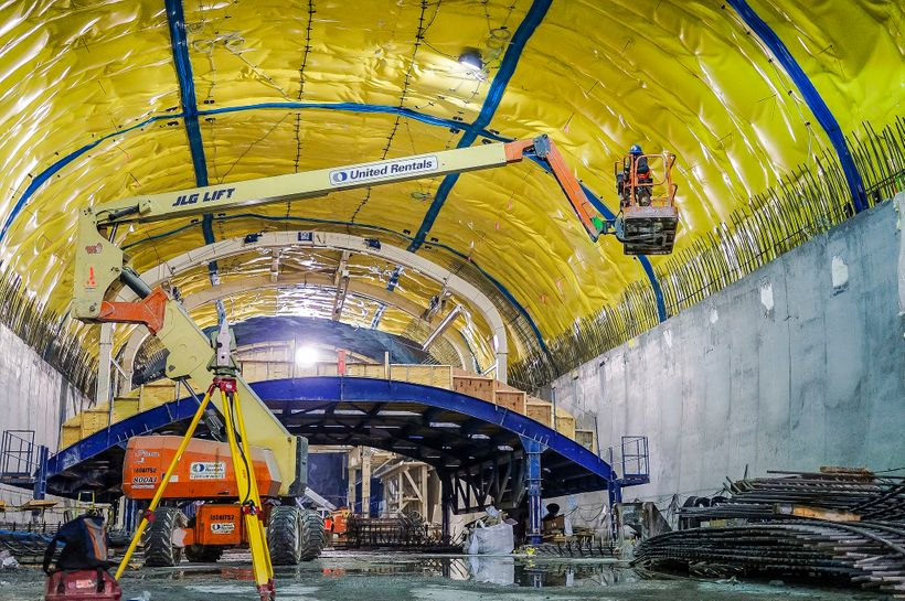Construction on the Second Avenue Subway's 86th St. cavern on January 21, 2014, in New York City.