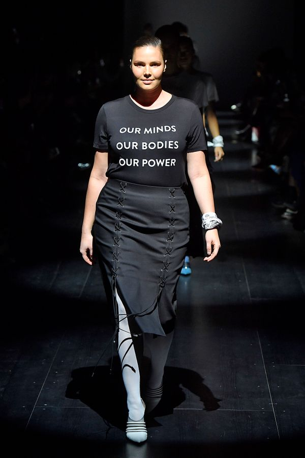 Plus-size model Candice Huffine walked alongside a group of fellow models wearing feminist shirts at fashion week. Gurung, wh