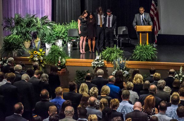 People attend the funeral service of Otto Warmbier.