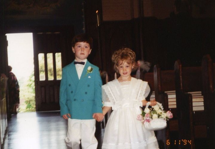 Patrick Casey with his cousin, Andria, when they were children.