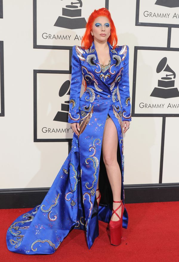 """Gaga paid homage to David Bowie at the Grammys shortly <a href=""""http://www.huffingtonpost.com/entry/david-bowie-dead-dies_us_"""