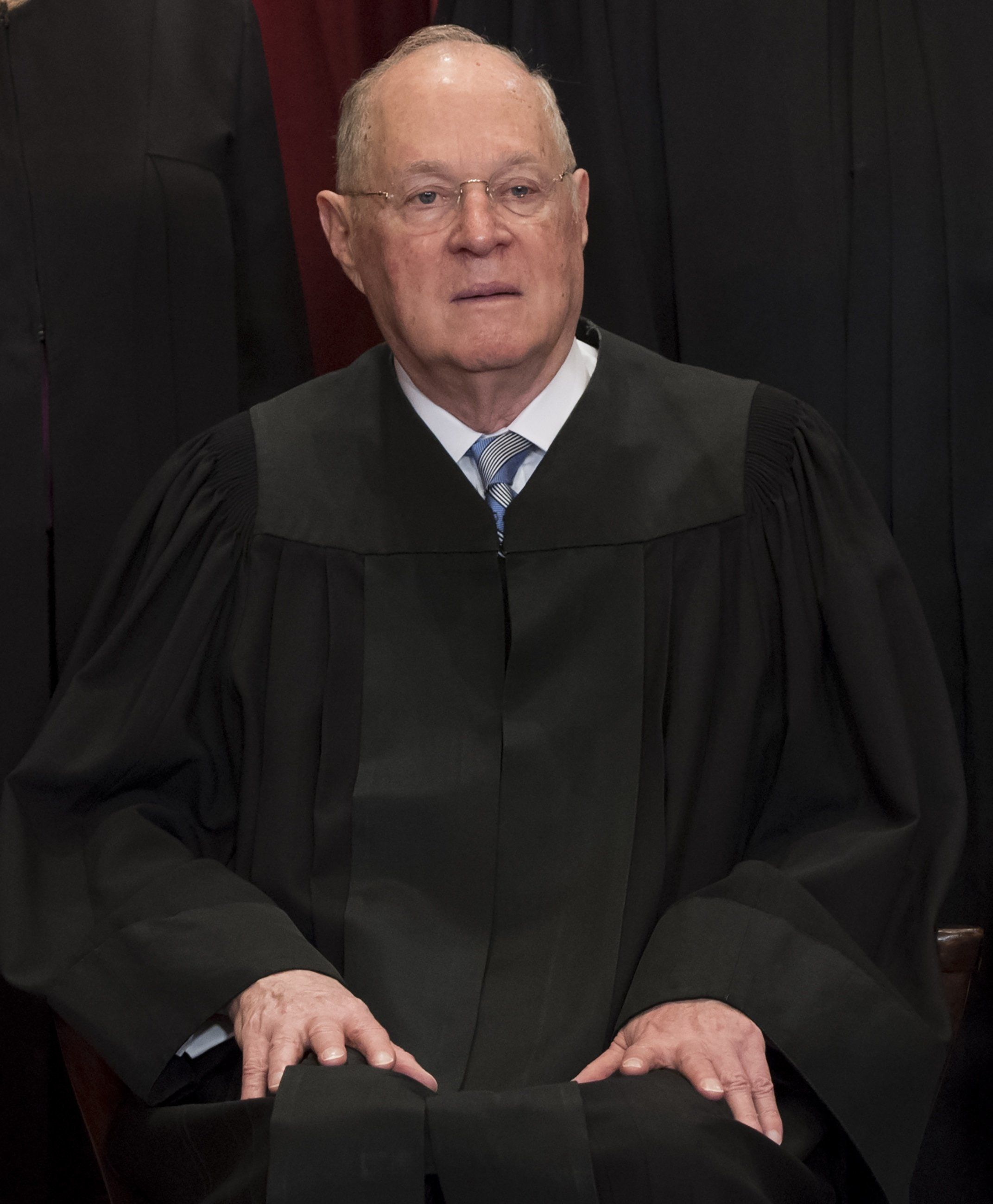 US Supreme Court Associate Justice Anthony M. Kennedy sits for an official photo with other members of the US Supreme Court in the Supreme Court in Washington, DC, June 1, 2017. / AFP PHOTO / SAUL LOEB        (Photo credit should read SAUL LOEB/AFP/Getty Images)