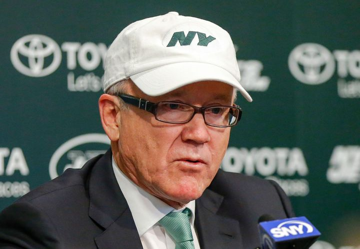 New York Jets chairman and chief executive officer Woody Johnson addresses the media.