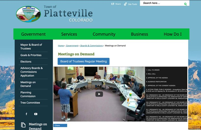 Platteville, CO (pop 2,608) was the first small town to implement the new transparency software offered by the Open Media Fou