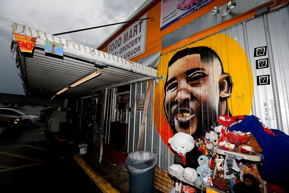 A mural outside the storewhere Alton Sterling was shot and killed by police in Baton Rouge, Louisiana.