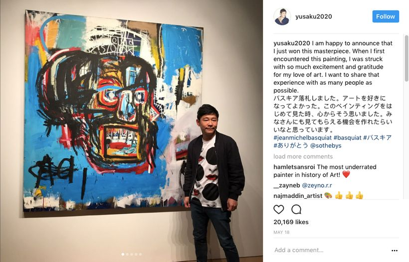 Yusaku Maezawa with his $110 million dollar Basquiat