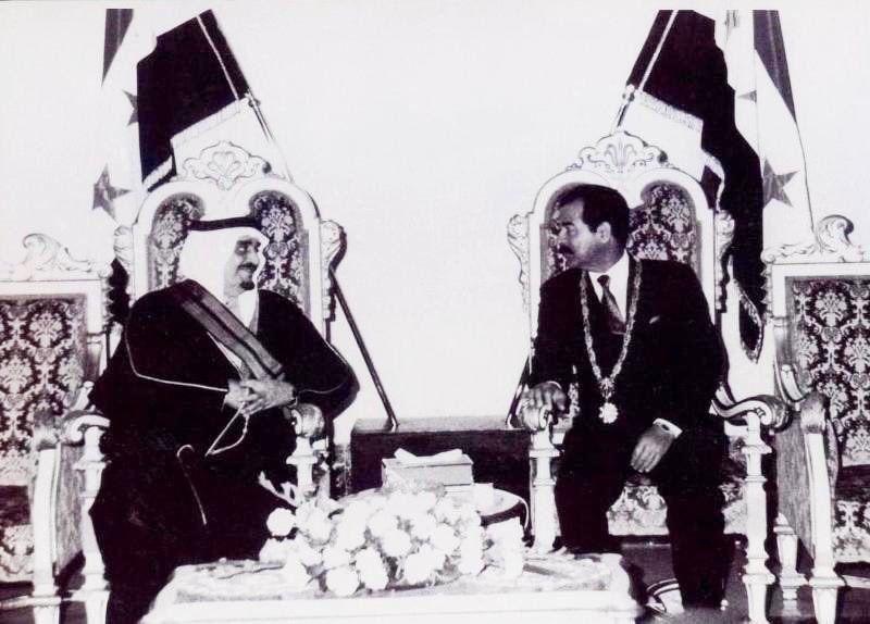 King Fahd bin Abdul Aziz meeting with President Saddam Hussein in Baghdad, Iraq, 1989