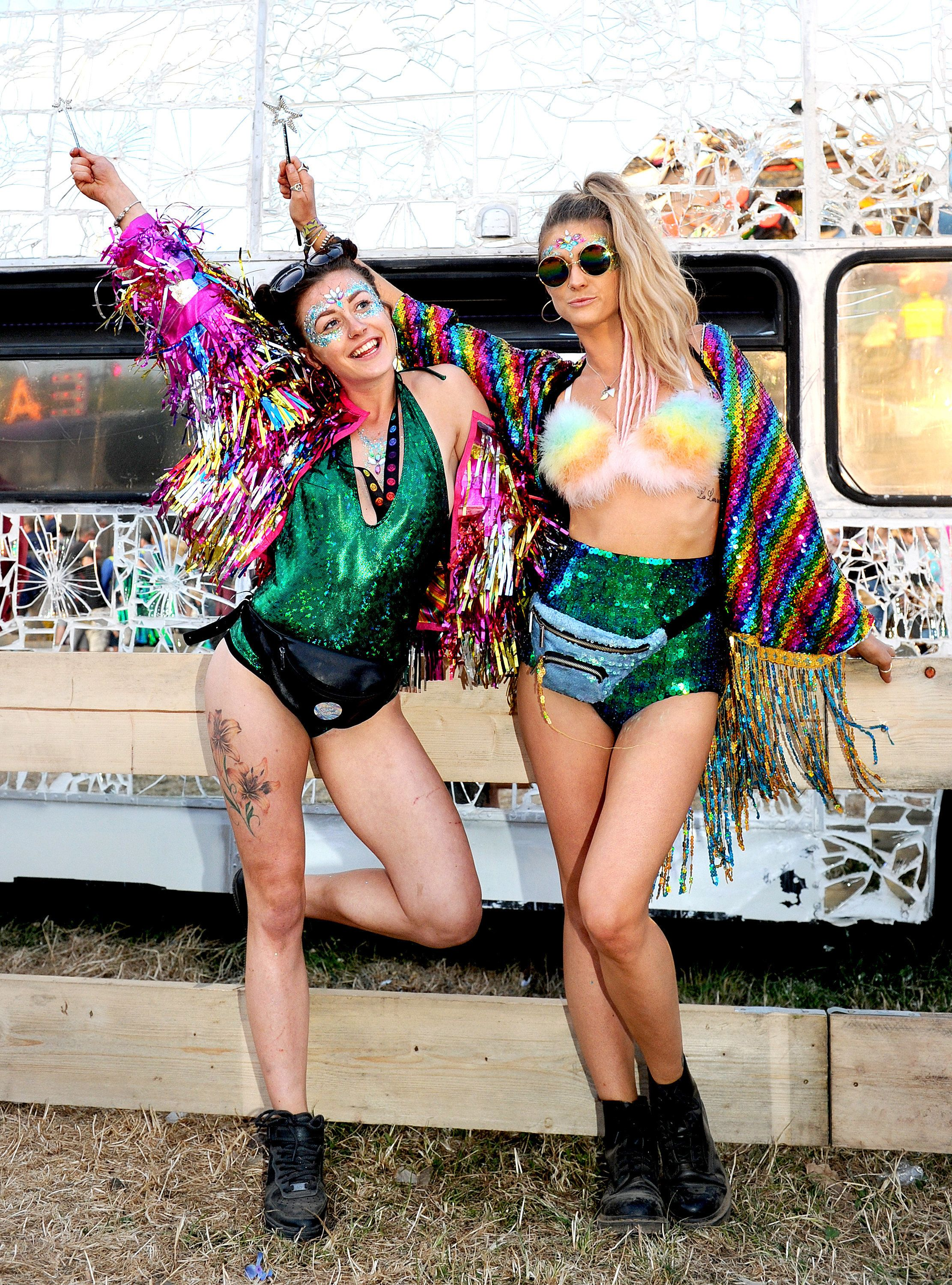 It's All 90s Nostalgia With Glitter Cheeks, Space Buns And Neon Brights At Glastonbury