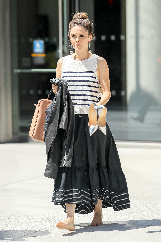 Rachel Bilson spotted walking barefoot while carrying her silver Christian Louboutin shoes in New York City, New York.<P>Pictured: Rachel Bilson<B>Ref: SPL1524997  220617  </B><BR/>Picture by: Felipe Ramales / Splash News<BR/></P><P><B>Splash News and Pictures</B><BR/>Los Angeles:310-821-2666<BR/>New York:212-619-2666<BR/>London:870-934-2666<BR/>photodesk@splashnews.com<BR/></P>