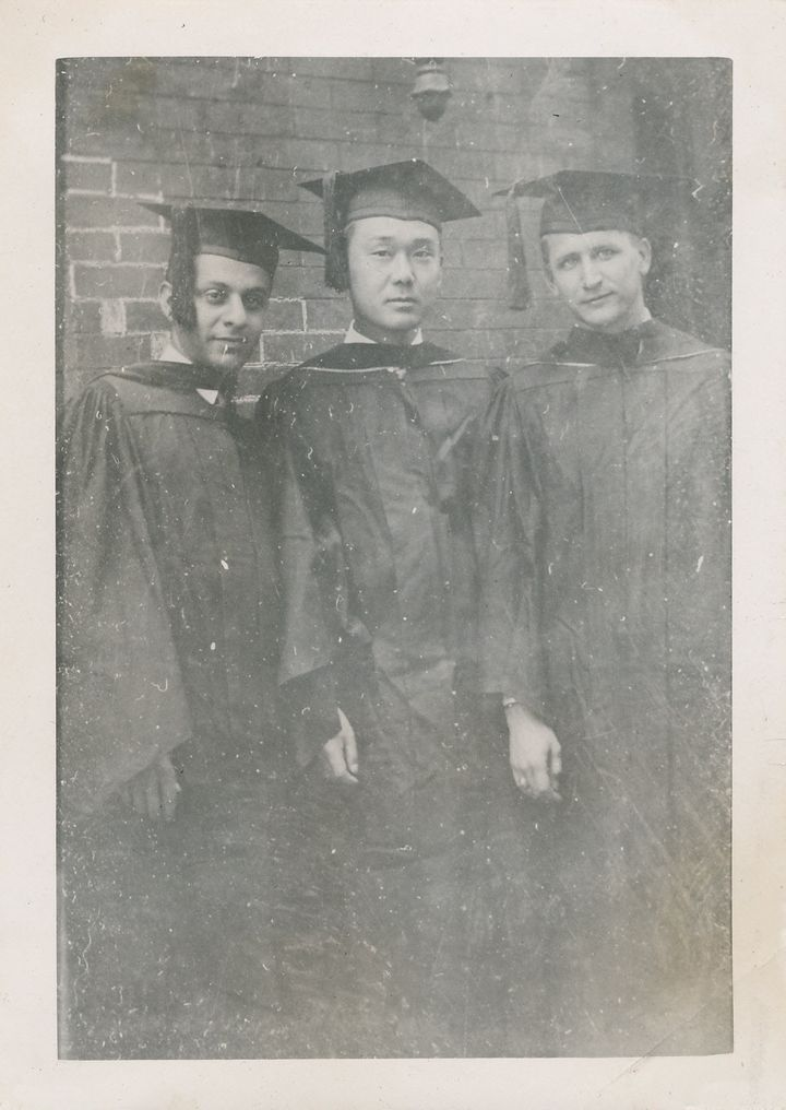 "Homer Yasui poses with two medical school classmates upon his graduation in 1949. ""The guy on my right is Dominic Stuccio, an"