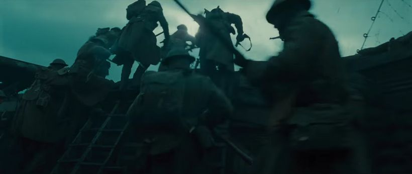 Out of the trenches: the moment the men of the allied troops rally behind Wonder Woman.