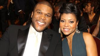 LOS ANGELES, CA - FEBRUARY 26:  Director Tyler Perry and actress Taraji P. Henson in the audience during the 41st NAACP Image awards held at The Shrine Auditorium on February 26, 2010 in Los Angeles, California.  (Photo by Christopher Polk/Getty Images for NAACP)