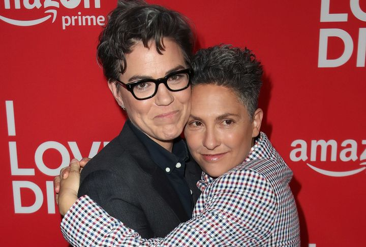 Sarah Gubbins (L) and Jill Soloway attend the premiere of Amazon's 'I Love Dick' at the Linwood Dunn Theater on April 20, 2017 in Los Angeles, California.