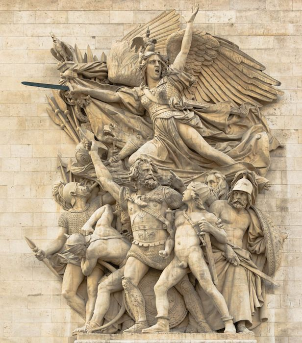<em>La Marseillaise </em>(<em>The Departure of the Volunteers of 1792</em>), François Rude, marble frieze, Arc de Triomphe de