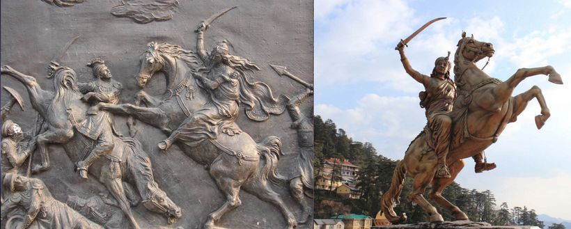 Sculptural relief and equestrian statue of Lakshmibai, the Rani (Queen) of Jhansi State in north-central India, charging agai