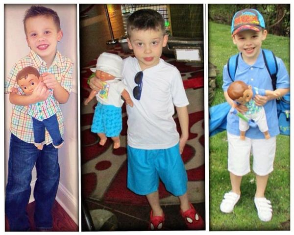 """""""This is my 5-year-old son Winston andhis Wonder Crew doll 'Winston Jr.' He brings him everywhere! Winston is a triplet"""