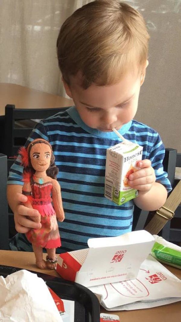 """Moana goes everywhere my 2.5 year old goes. He even shared his apple juice!"""