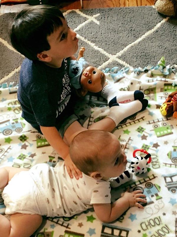 """My son loves his baby brother and baby doll!!! He's such a good little daddy. He just turned 3 but was born a preemie, so hi"