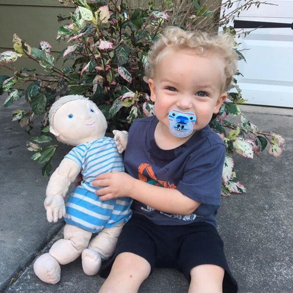 """""""This is Miles' twin doll from Ikea (it's since been discontinued). They both have blue eyes, blonde curly hair, and are ador"""